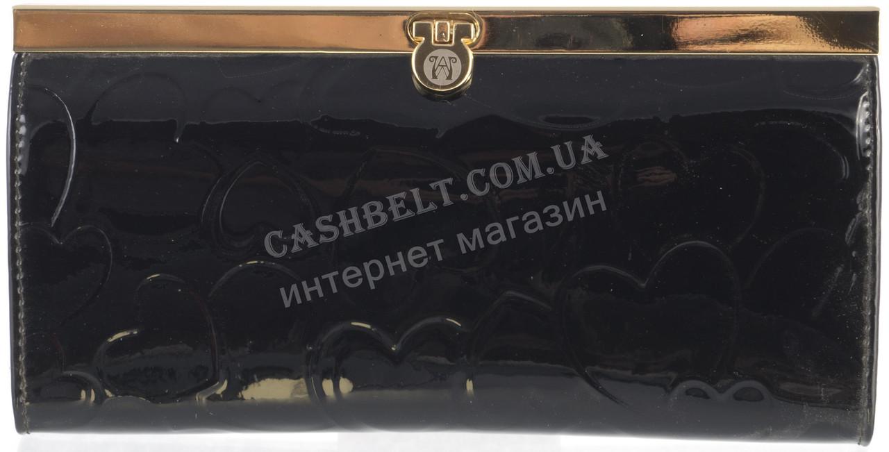 Стильний лаковий жіночий шкіряний гаманець WILDNES art. 2263-5-C20 чорний