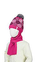 Шерстяная шапка и шарфик на зиму для девочки 50-52