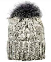 Шапка зимняя  с мехом енота для девочкм Олта, р. 50-56 см