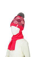 Теплая шапка с шарфом для девочки 50-52