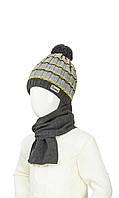 Модная шапка и шарф для мальчика 48-50
