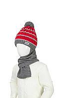 Теплая шапка в полоску и шарф для мальчика 48-50