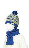 Теплая шапка и шарф на зиму для мальчика 48-50
