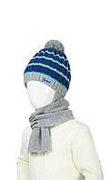 Зимняя шапка в полоску и шарф на мальчика  48-50