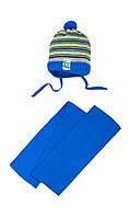 Зимняя шапочка в полоску и шарф на малыша 42-44