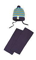 Зимняя шапочка в полоску и шарфик на грудничка 42-44