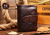 Мужской кожаный кошелек, портмоне. Натуральная кожа. Коричневый. Натуральная кожа. ЕК103, фото 1