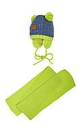 Зимняя шапочка с помпонами и шарфик на малыша 40-42