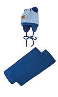 Шапочка с двумя помпонами и шарфик на малыша 40-42