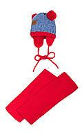 Яркая шапочка и шарфик для малыша на зиму 40-42
