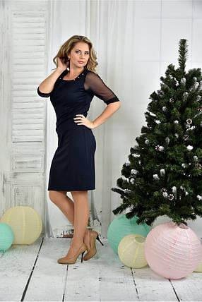 Женское приталенное платье синего цвета 0384 размер 42-74 / батальное, фото 2