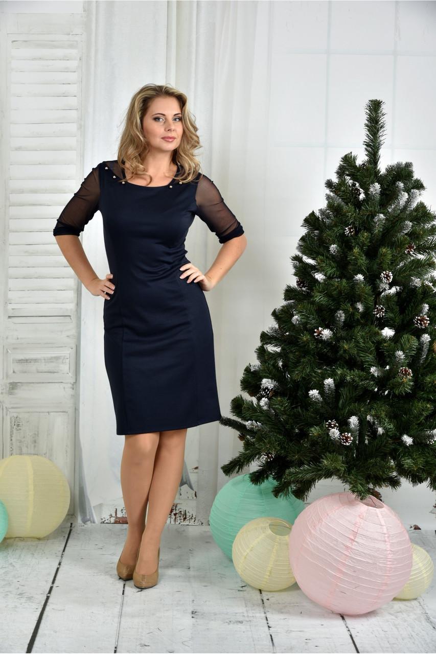 Женское приталенное платье синего цвета 0384 размер 42-74 / батальное
