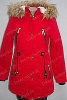 Женская зимняя куртка коттоновая с капюшоном ярко красная