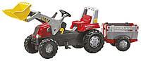 Трактор педальный с ковшом  Rolly Toys Junior RT  с прицепом  красный