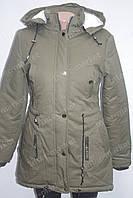 Женская зимняя куртка коттоновая с капюшоном хаки