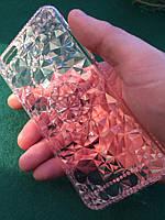 Силиконовый чехол iphone 6/6s кристал алмаз розовый