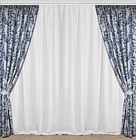 Шторы на окна  с ткани блэкаут с синим орнаментом