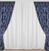 Купить темно синие шторы на окна