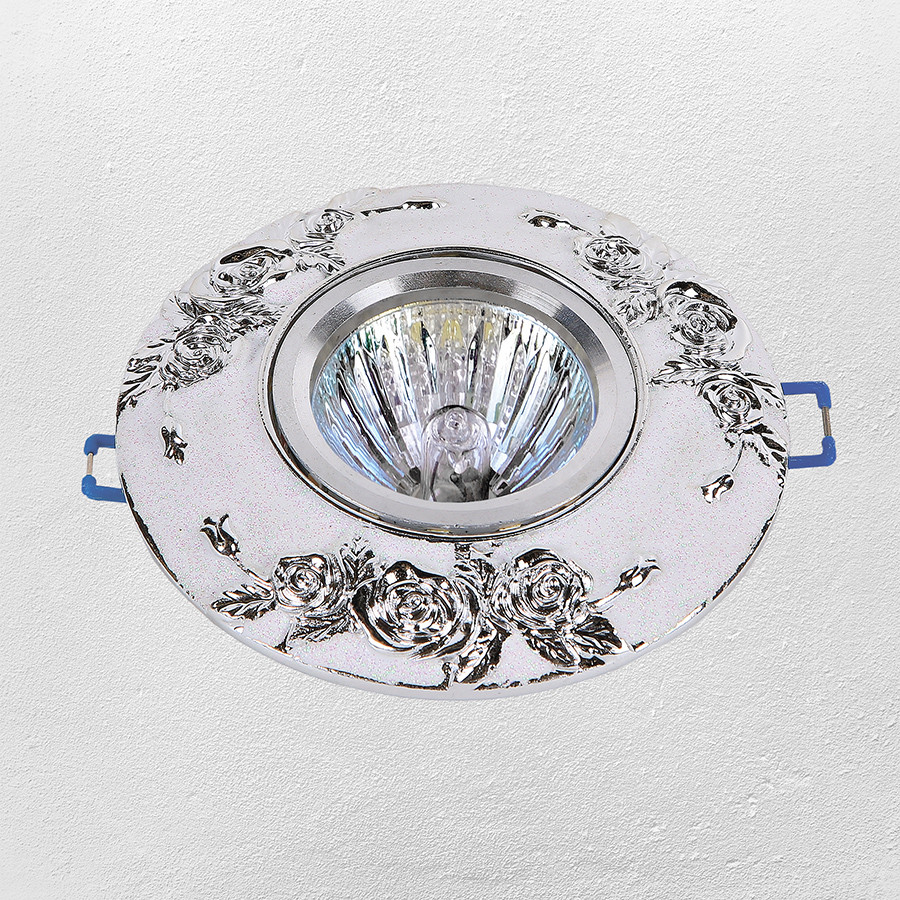 Точечный врезной светильник (модель 47-4409 бело-серебряный)
