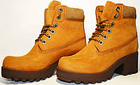 Ботинки женские зимние  Darkwood DW-5275-2 нат. нубук/мех, коричневые, шнурок, каблук 6 см, платформа 2,6 см.