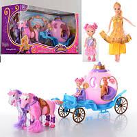 Карета 686-689 муз, свет, на бат-ке(табл), лошадь 2шт, 52см, кукла 2шт, в кор-ке, 55-27,5-16см