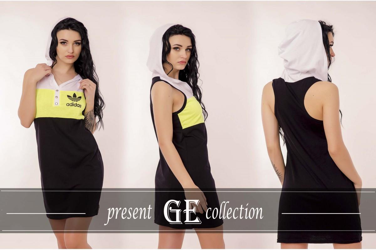 Модное спортивное платье с капюшоном реплика Адидас борцовка