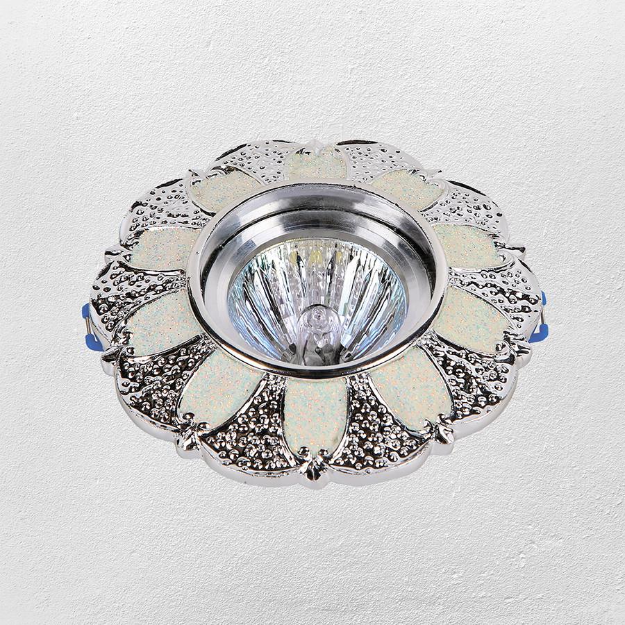 Точечный врезной светильник (модель 47-6804 серебро)