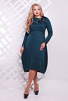 Женское повседневное платье Шарлотта цвет бутылочный размер 52-58 / для полных девушек