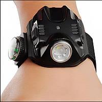 Сверхмощный тактический(пистолетный) наручный фонарь на аккумуляторе №2211,яркость 180 люмен