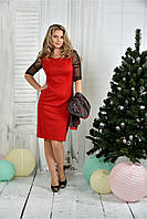 Женское приталенное платье красного цвета 0384 размер 42-74 / батальное