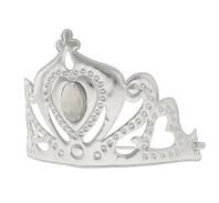 Карнавальная корона снегурочки серебристая с камнем