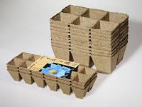 Торфяные  кассеты на 6 ячеек Джиффи квадратные  8х8 см Jiffy