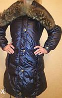 Стильный брендовый женский зимний пуховик Dior. Натуральный мех! -50%