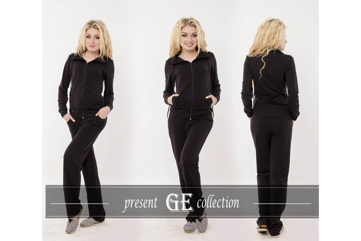 Классический черный качественный спортивный костюм женский