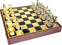 Шахматы в деревянном футляре Посейдон Греческие статуи размером 54*54 см SK17BLU синий