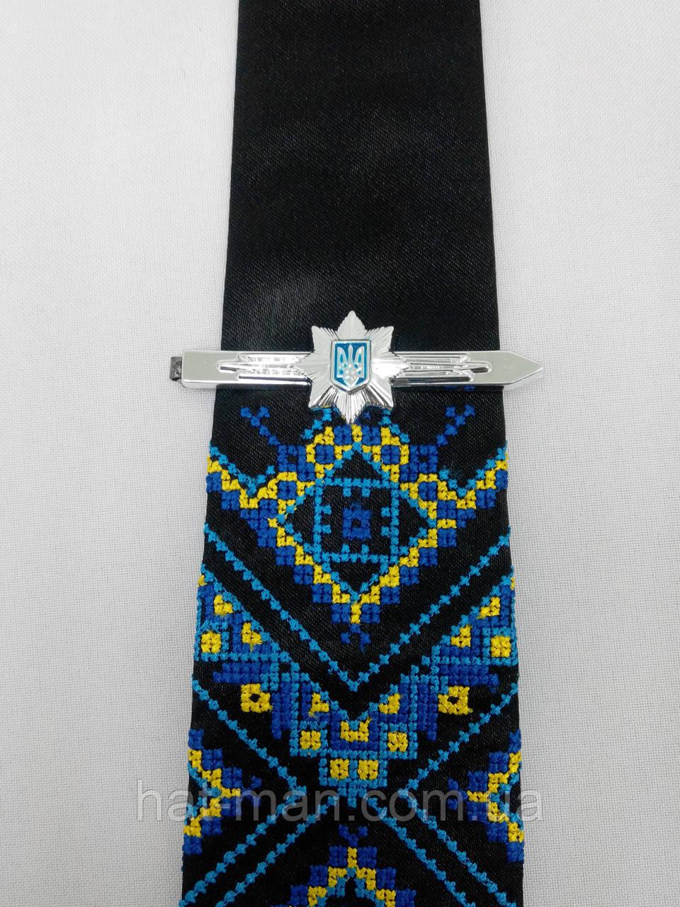 Вишита краватка чорна з зажимом (нацполіції)