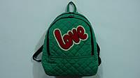 """Рюкзак подростковый """"love"""" зеленый,340*300*120мм,стеганый,Текстиль Принт. Рюкзак спортивный """"love"""". Рюкзак гор"""