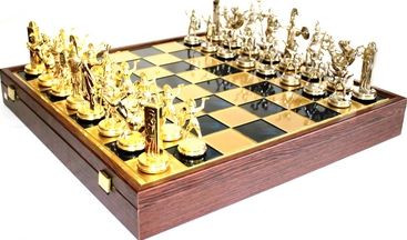 Шахматы в деревянном футляре Греческая мифология размером 54*54 см SK19BLU синий
