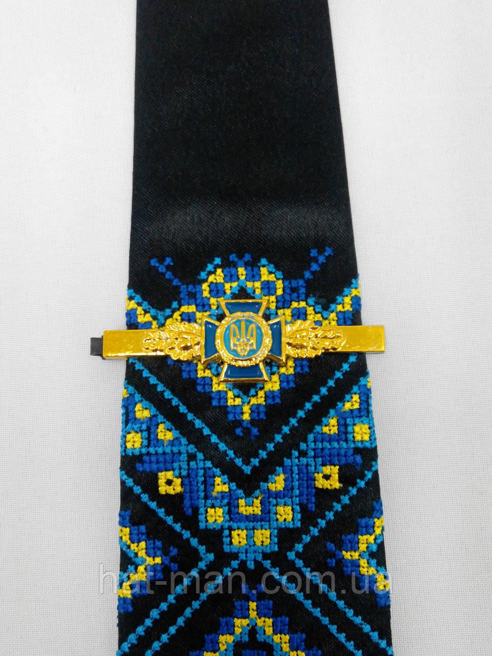 Вишита краватка чорна з зажимом СБУ