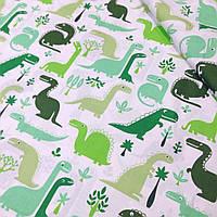 Хлопковая ткань с зелеными драконами №342