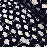 Хлопковая ткань облака с лестницами на черном фоне №349