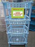 Пластиковая этажерка VIP на 3-и яруса, голубая, фото 3