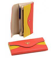 Женский кожаный кошелек, клатч, портмоне Bretton из натуральной кожи. Цвет оранжевый