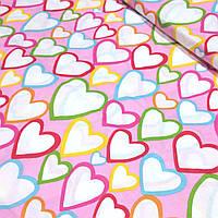 Лоскуток. Хлопковая ткань с разноцветными сердцами 64*160  №352