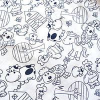 Трикотажное полотно кулир хлопок/эластан 95/5 пенье 30/1, рисунок детский, домашние животные