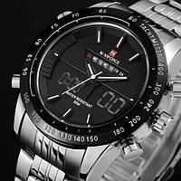 Кварцевые мужские часы Naviforce Army Silver
