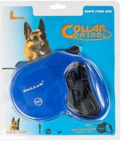 Рулетка Collar control с ручкой-комфорт и лентой синяя , 10 кг, 3 м