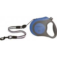 Рулетка Collar control ручка-комфорт со светоотражающей лентой синяя , 12 кг, 8 м