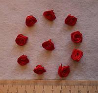 Атласная розочка красная 750 упаковка 10 шт