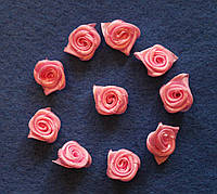 Атласная розочка розовая 753  упаковка 10 шт
